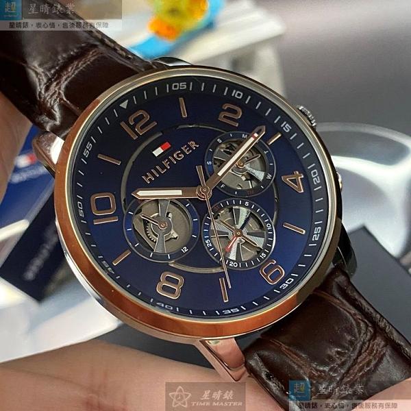 Tommy Hilfiger湯米希爾費格男女通用錶44mm寶藍色錶面咖啡色錶帶