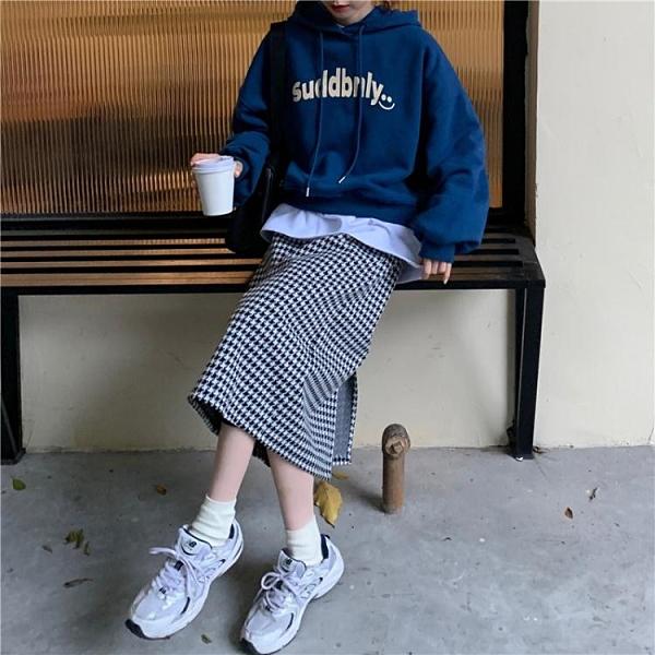 中大呎碼半身裙 秋冬套裝女ins韓版寬松連帽加絨衛衣 毛呢格紋半身裙慵懶風兩件套
