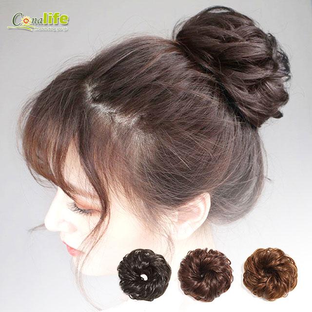 [Conalife]蓬鬆造型加厚仿真捲髮大髮圈(2入組)