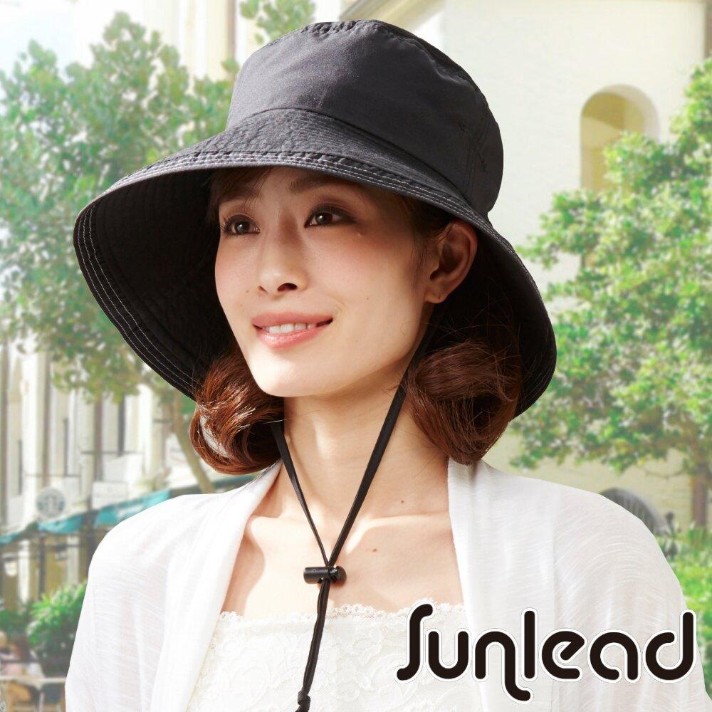 Sunlead 防風吹落 防曬輕量透氣可折邊遮陽帽/登山帽 (黑色)
