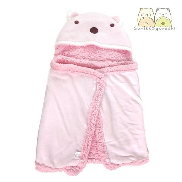 【SAS】日本限定 SAN-X 角落生物 白熊 折疊收納式 披肩毛毯 / 連帽毛毯 / 抱枕式毛毯 100×50cm