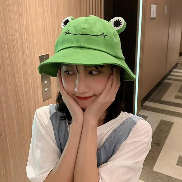 年底促銷# 帽子女日系可愛卡通青蛙漁夫帽春夏韓版時尚百搭學生盆帽遮陽帽子