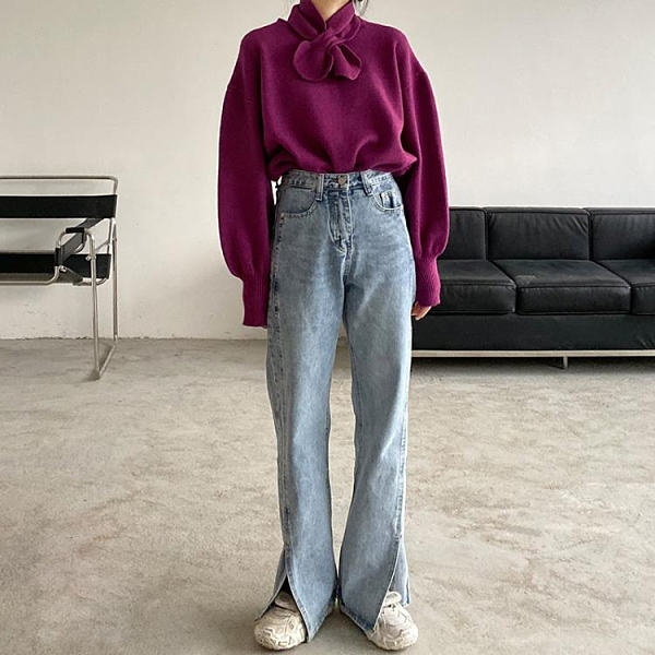 新品優惠 高腰闊腿開叉牛仔褲女直筒寬松顯瘦冬季新款大碼胖MM泫雅風老爹褲