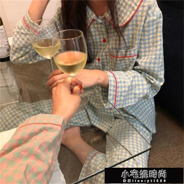 秋冬新款韓版長袖上衣格子家居服套裝女休閒長褲睡衣兩件套 【新年免運】