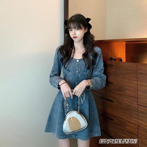 【快出】牛仔洋裝秋季森繫小個子裙子新款韓版復古收腰顯瘦長袖牛仔洋裝女裝