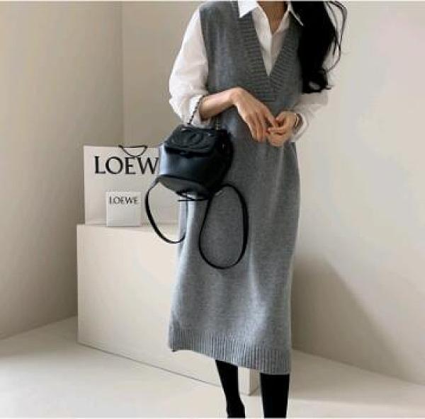 馬甲針織洋裝 韓國 秋冬知性羊毛無袖針織連身裙 加厚長款毛衣裙背心裙664 GD356-G 韓依紡
