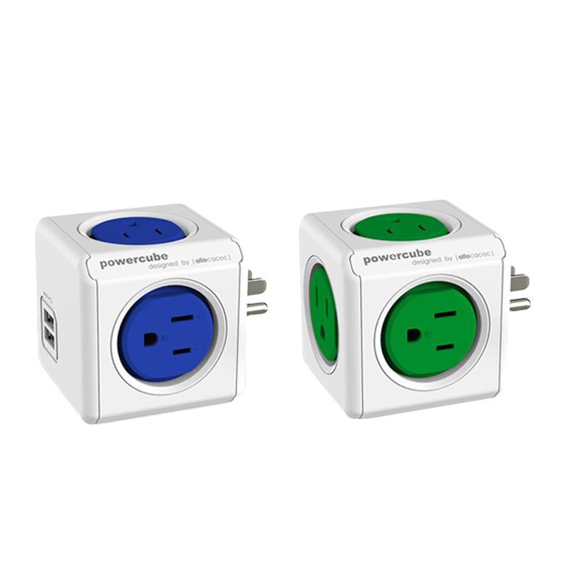 【荷蘭POWERCUBE魔術方塊擴充插座-(藍)2.1A雙USB擴充插座】延長線 USB插座 萬用插頭 轉接頭 快充插座 電源插座 充電器 充電線【AB338】