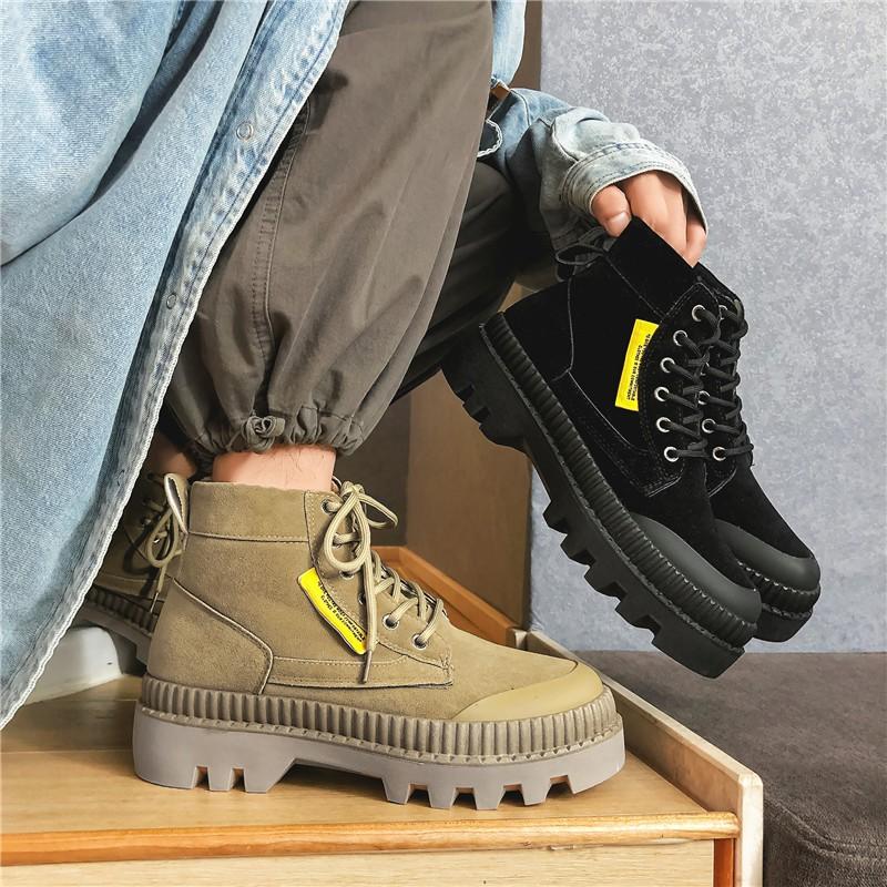 馬丁靴男秋冬季英倫潮鞋踢不爛大黃靴高幫沙漠靴子爆款工裝鞋男