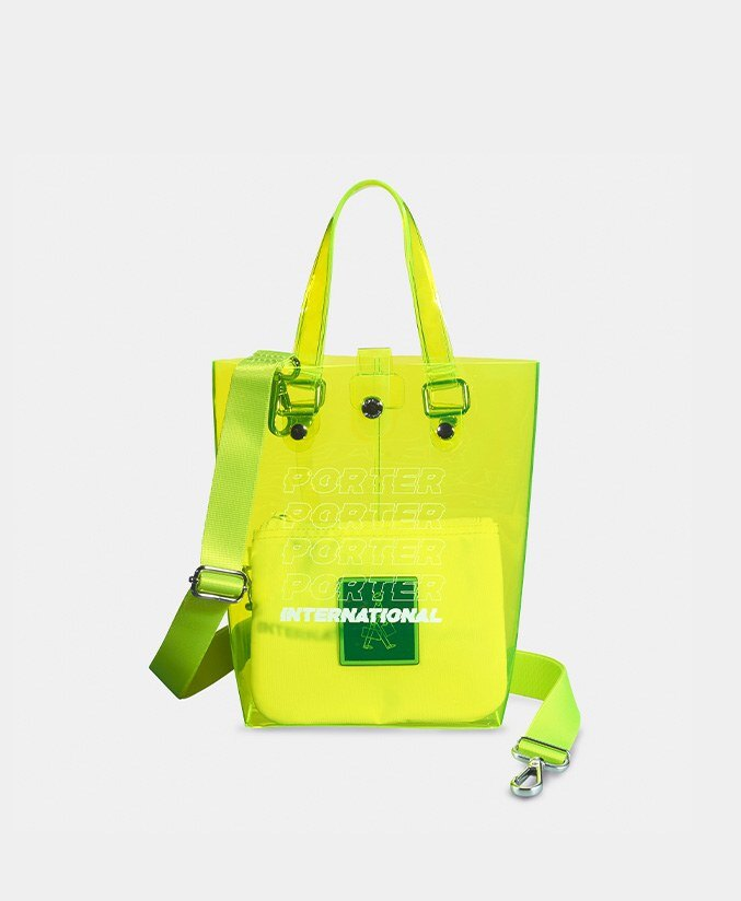 PORTER 防水透明手提袋 螢光黃  (S) 黃色 限量 海灘包 手提包