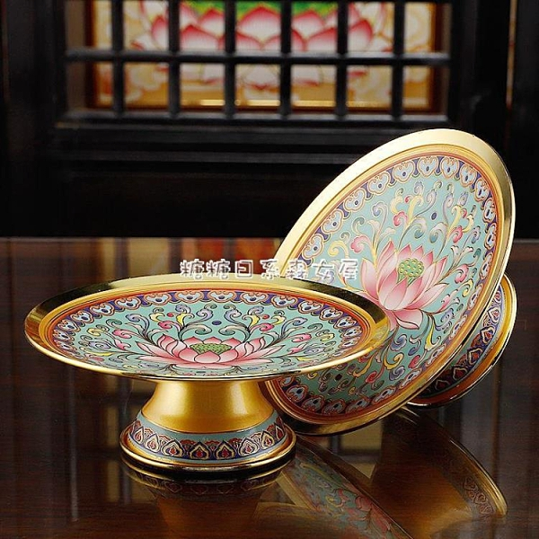 新年禮物佛堂供果盤佛具用品供盤銅合金水果盤貢盤供佛家用佛前供盤