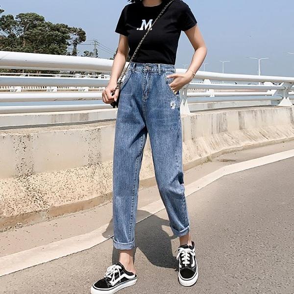 2021新品促銷 特惠限購 寬松直筒牛仔褲女夏季新款泫雅風高腰搭垂感小雛菊褲女