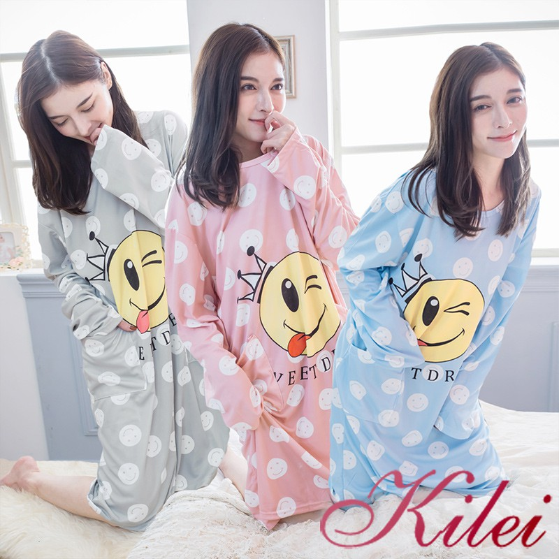 【Kilei】四季款滿版笑臉牛奶絲雙側口袋長袖連身睡衣XA4312(共三色)全尺碼