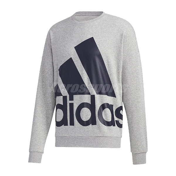 adidas 長袖T恤 Favorites Big Logo Sweatshirt 灰 深藍 男款 大學T 運動休閒 【ACS】GK0620
