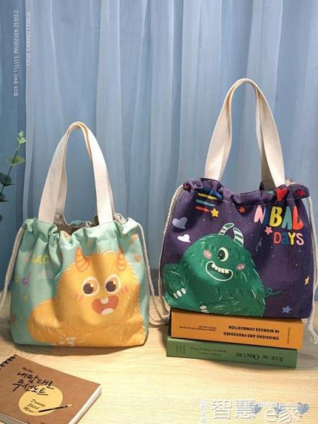 便當包 上班帆布拎包保溫袋飯盒手提袋鋁箔加厚學生簡約便當袋帶飯包袋子 智慧