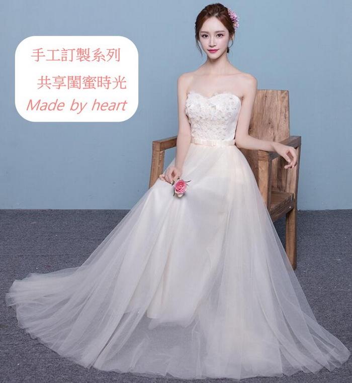 訂製系列 性感抹胸收腰綁帶長款洋裝/伴娘服/小禮服 6個設計 公主白紗系列