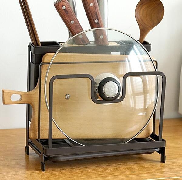 菜刀砧板架 筷子籠一體組合家用放菜刀座架子菜板架廚房刀具置物架【快速出貨八折鉅惠】