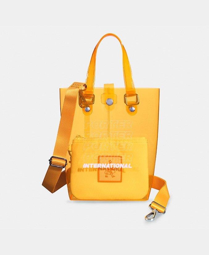 PORTER 防水透明手提袋 螢光橘  (S) 橘色 限量 海灘包 手提包