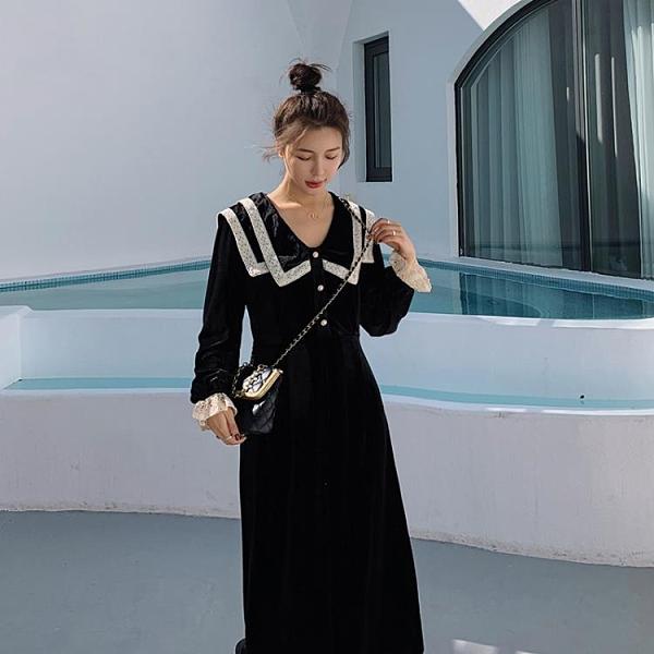 孕婦洋裝 2021新款法式絲絨連衣裙收腰顯瘦秋冬氣質寬松中長裙【新年禮物】