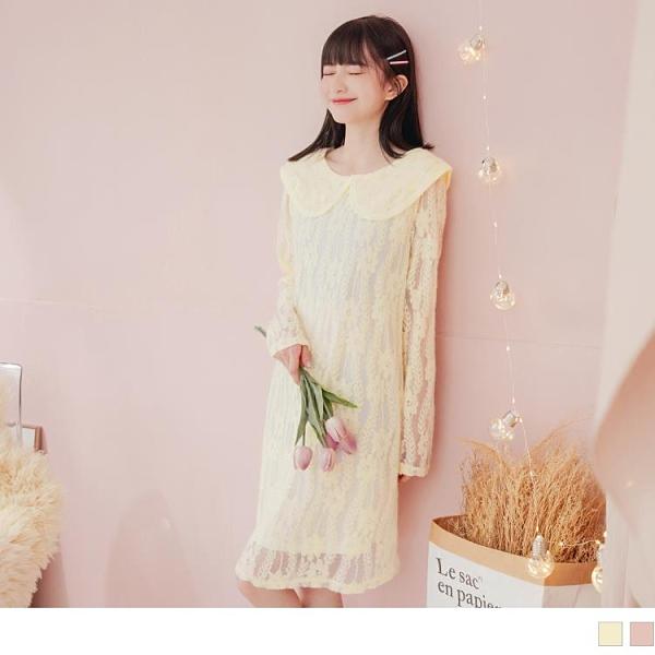 《DA8285-》優雅滿版鏤空蕾絲娃娃大翻領洋裝 OB嚴選