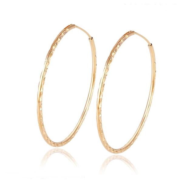 防抗過敏 極細亮面滿天星壓紋 單圈中耳圈耳環-金、銀