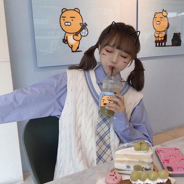 兩件套裝/單件學院風馬甲女韓版chic毛衣背心V領針【免運快出】