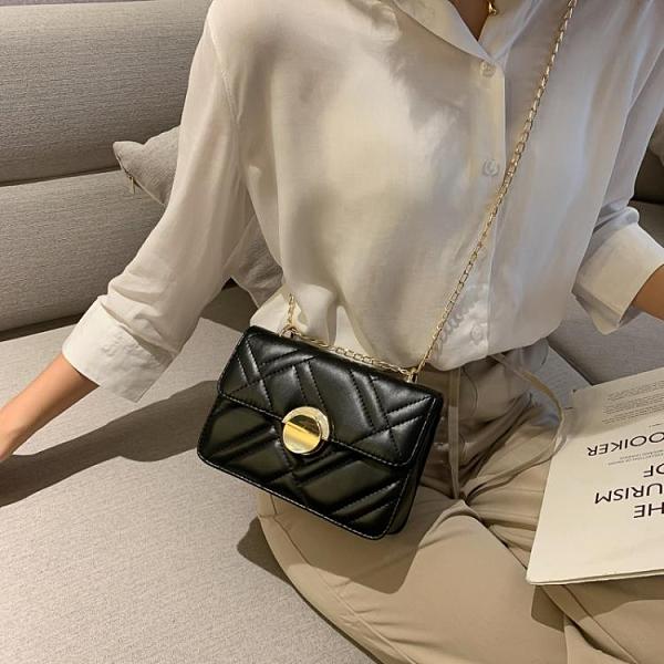 新品促銷 網紅小包包質感斜挎女包新款時尚韓版車縫線單肩菱格鏈條包