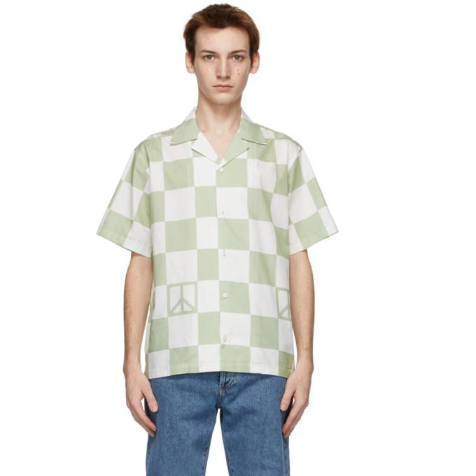 Saturdays NYC 白色 and 绿色 Canty Peace 短袖衬衫