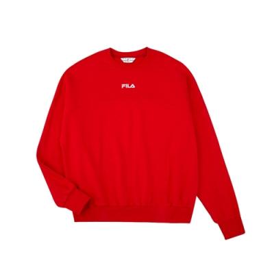 FILA #架勢新潮 長袖圓領T恤-紅色 1TEV-1403-RD