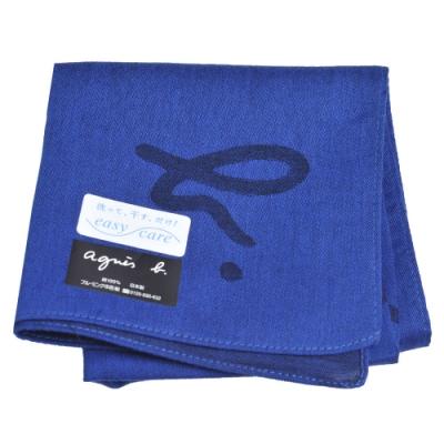 agnes b 品牌大字母圖騰LOGO帕領巾(藍色系)