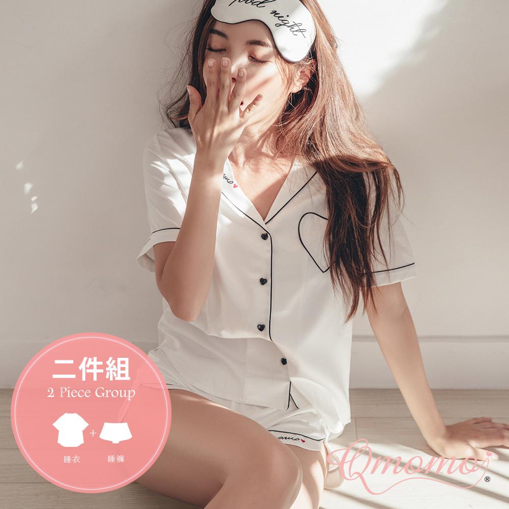 睡衣 【Hola!貝果.兩件組】輕盈柔滑襯衫式短褲 成套睡衣(白)