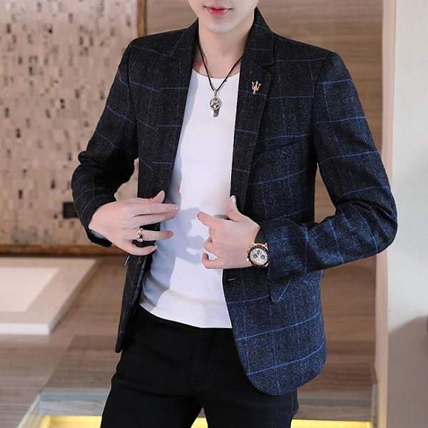 小西裝男韓版潮流修身春秋季新款單西服男裝上衣帥氣休閒男士外套 裝飾界