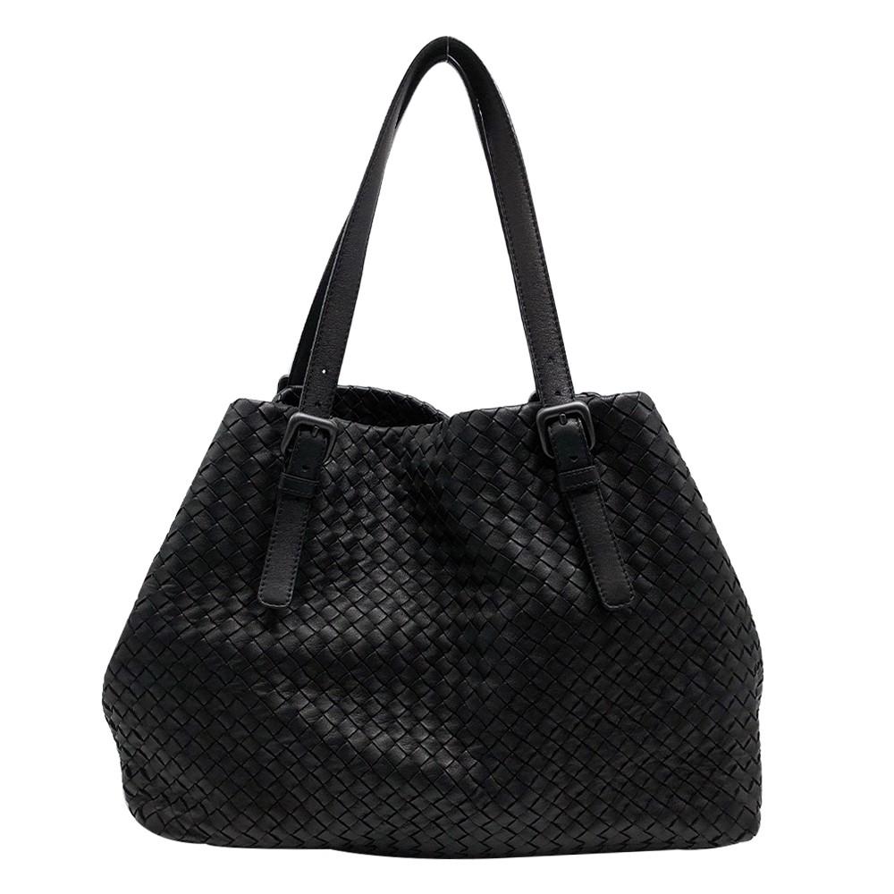 BOTTEGA VENETA 經典小羊皮編織肩背購物包(黑) 廠商直送