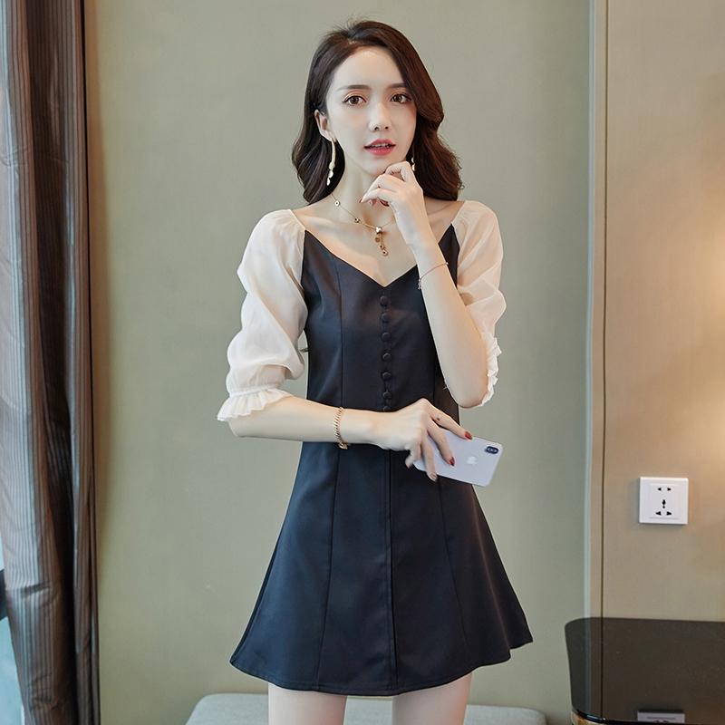 寬V領網紗拼接五分袖甜美洋裝a字裙連衣裙