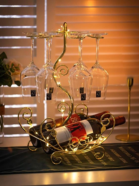 高檔酒架 紅酒杯架倒掛免釘家用高腳杯架懸掛歐式高檔酒柜裝飾品紅酒架【快速出貨八折搶購】