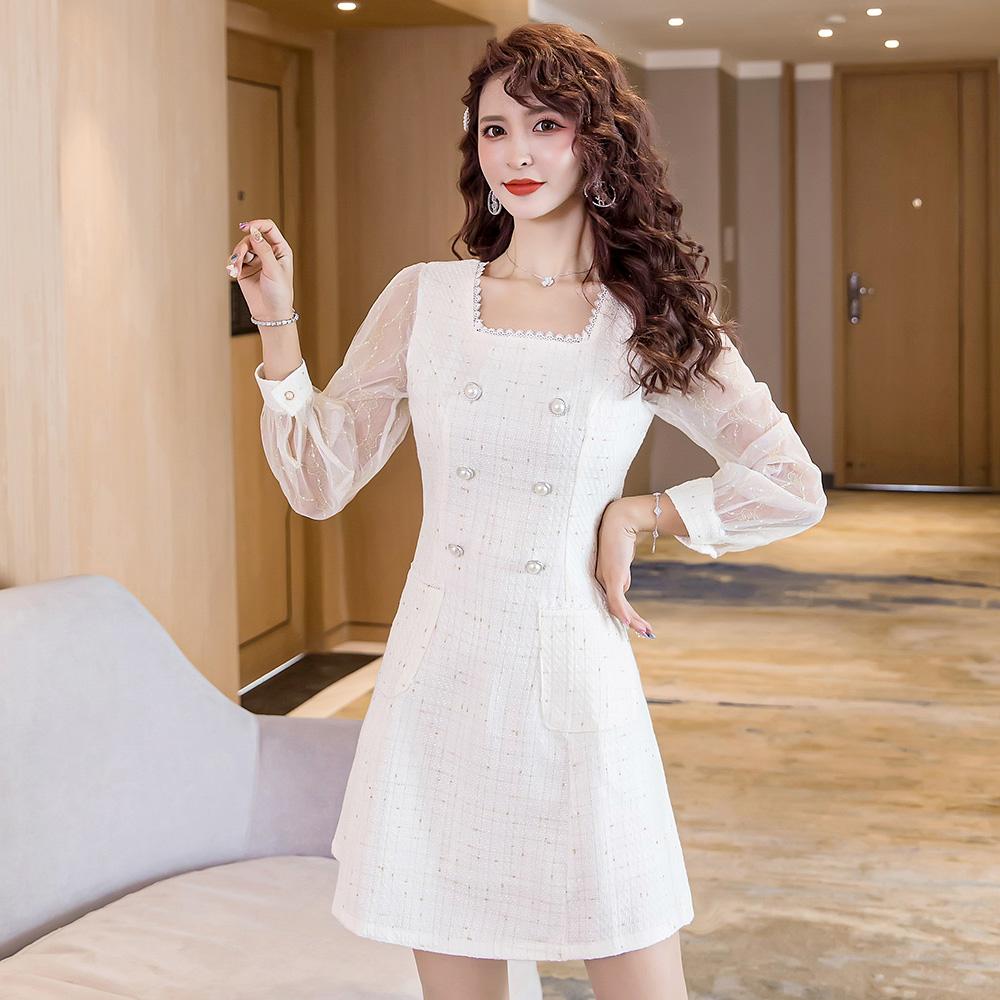 白色a字裙洋裝長袖收腰小禮服雙排扣甜美尺碼洋裝中長連身裙