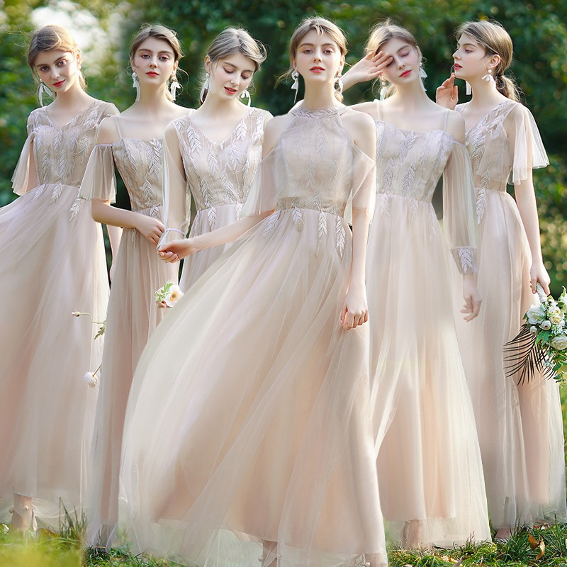【現貨特惠】伴娘禮服女2020平時可穿姐妹團仙氣質顯瘦創意簡單特別長款秋冬裝