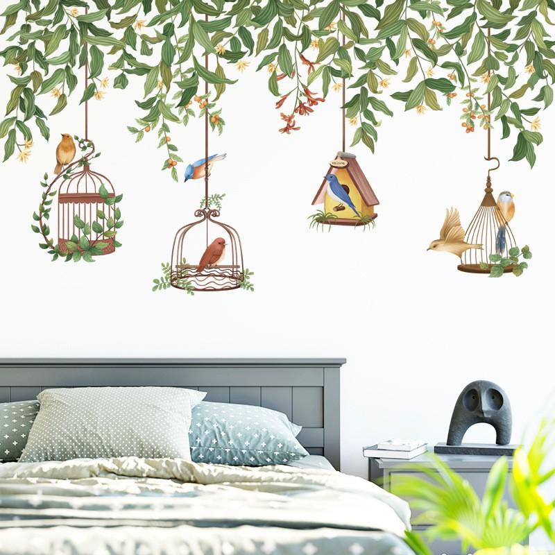 【五象設計】壁貼 可移除牆貼 綠葉牆頂花藤鳥籠植物小清新裝飾貼紙臥室客廳溫馨浪漫