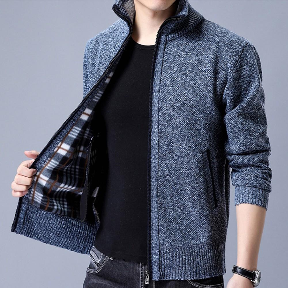 【KISSDIAMOND】男神韓版立領羊毛針織毛衣外套(KDC-M9137)