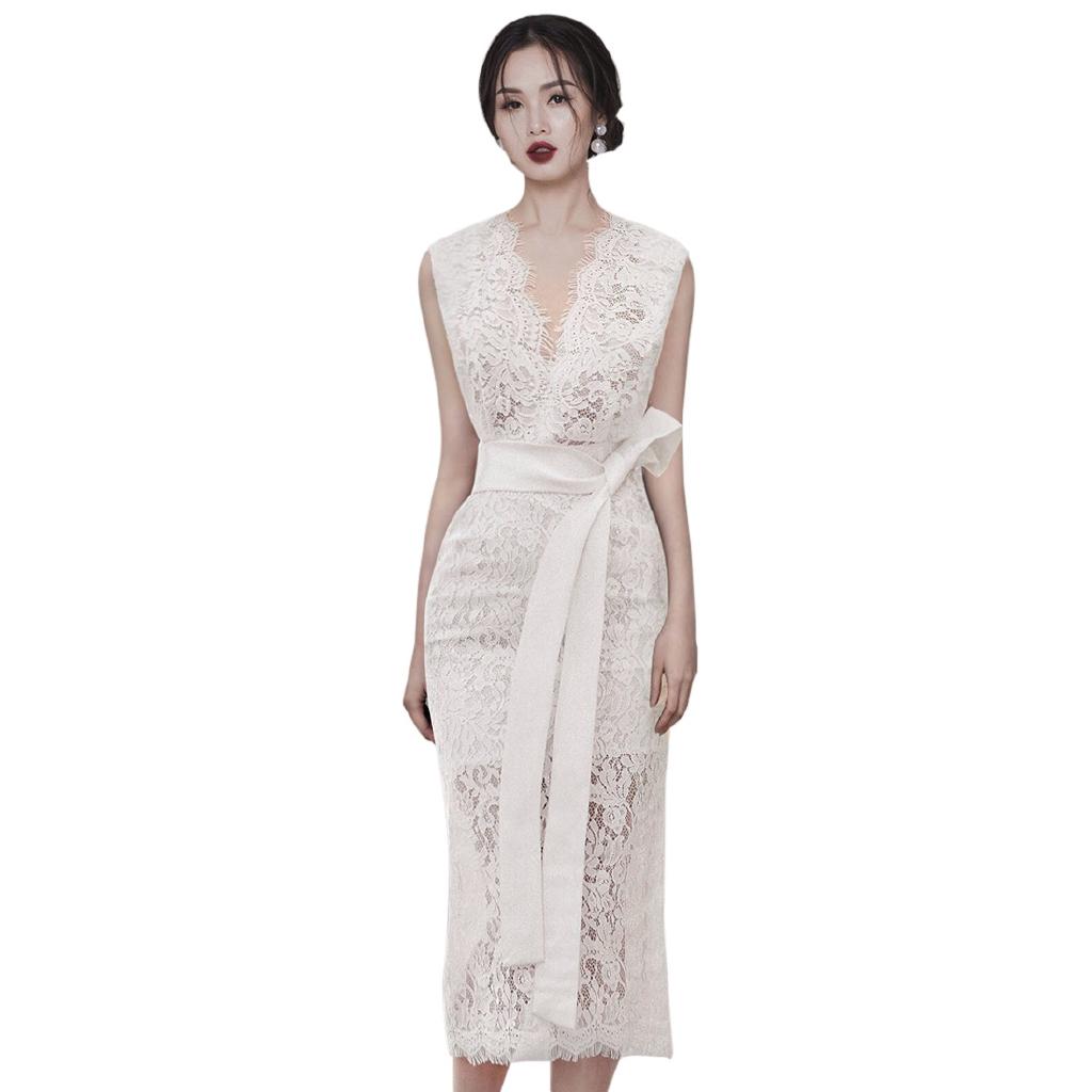 宴會蕾絲洋裝 透視 性感 無袖深V洋裝 綁帶合身洋裝 中長過膝連身裙 氣質正韓洋裝