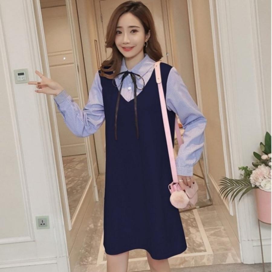 漂亮小媽咪 假兩件 洋裝【D3635】韓系 條紋 泡泡袖 拼接 背心裙 長袖 洋裝 孕婦裝 襯衫洋裝 []