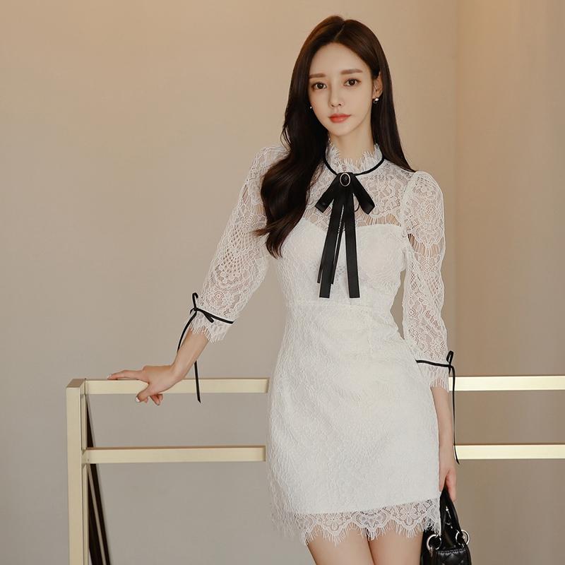 白色短板洋裝a字裙甜美正韓蕾絲洋裝蝴蝶結宴會洋裝包臀連衣裙office lady女生party洋裝