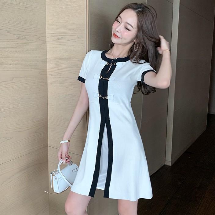 正韓洋裝小個子洋裝圓領短袖 a字裙短洋裝