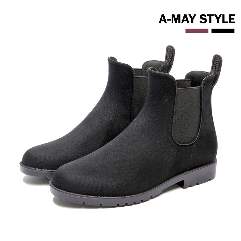 短靴-英倫反絨拼接馬丁雨靴【XR10246】*艾美時尚