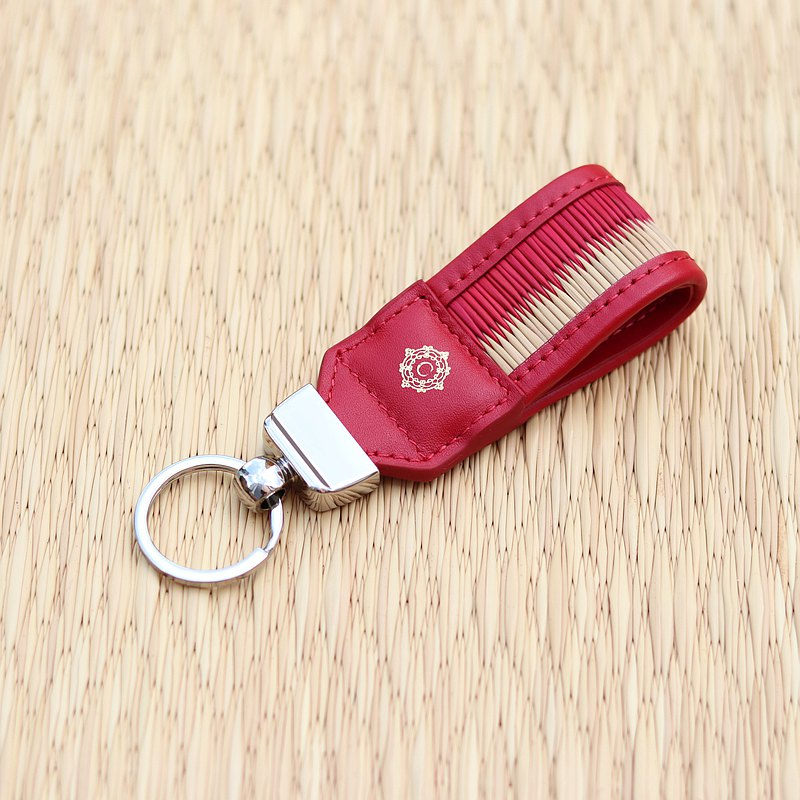 Red Key Fob from Leather and Woven Sedge by Chaksarn
