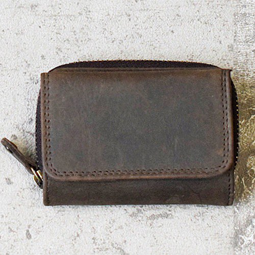 全皮革製成的小巧迷你錢包[棕色]您可以在上面貼上自己的名字