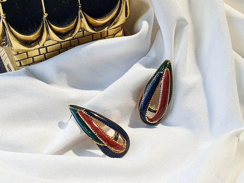 【美國帶回 西洋古董飾品】1960年代美國飾品 彩色水滴 針式耳環