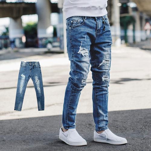 【NB0647J】韓國製刷破抽鬚補丁合身彈性牛仔褲 (LE-PA716)