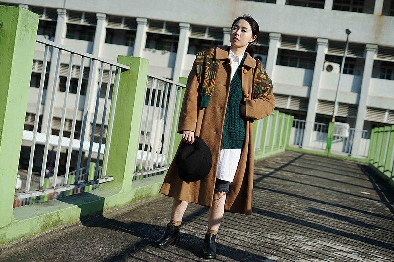 尋寶古著-經典駝色連袖pure cashmere 羊絨長版大衣