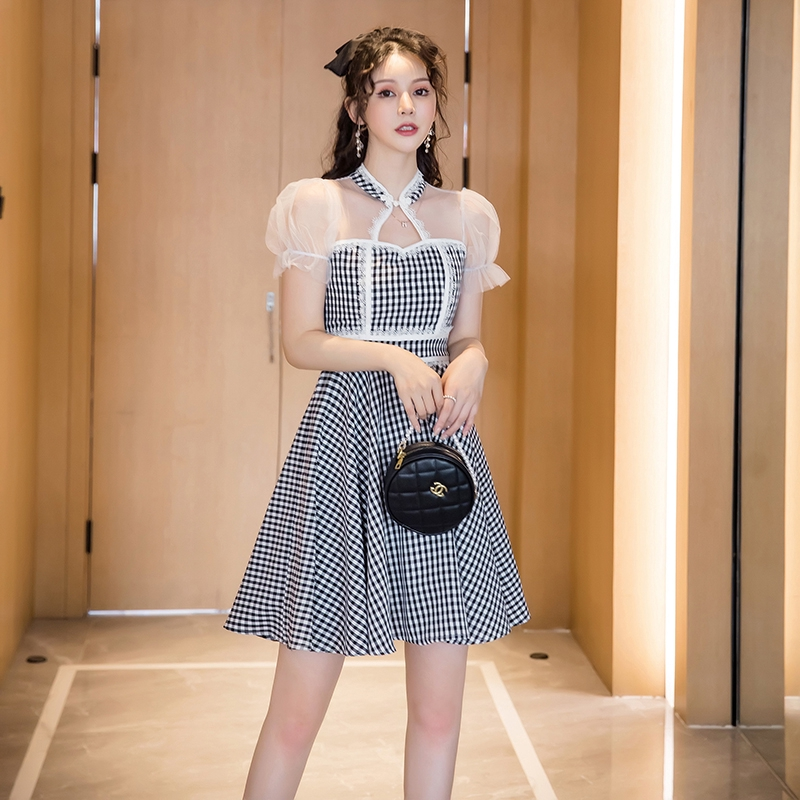 甜美a字裙及膝中長洋裝透視網紗短袖收腰格子連衣裙宴會禮服