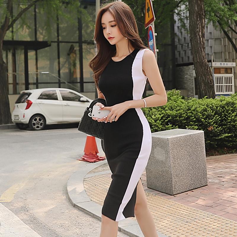 正韓彈力緊身洋裝一步裙氣質針織連衣裙夏韓版新款女裝拼接顯瘦包臀中裙